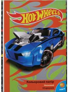 Бумага цветная неоновая Hot Wheels KITE HW15-252K